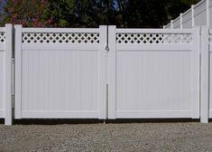 Driveway Gate with Sunburst Picket. Seal Beach, CA Florida Home, Vinyl Gates, Front Landscaping, House Design, Driveway, Vinyl Fence, Picket Gate, Outdoor Living, Main Gate Design