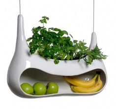 Cocoon by Mans Salomonsen is a storage unit for fruits and vegetables for a modern kitchen. Besides simply holding them it has a unit for growing herbs and species. The body of Cocoon has an Herb Planters, Hanging Planters, Clay Planter, Indoor Planters, Hanging Basket, Planter Boxes, Fruit Storage, Vegetable Storage, Storage Area