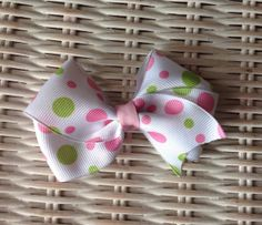 4 White Hair Bow With Pink And Green Polka Dots by mlmissal, $4.00 Click here to view more items www.etsyshop.com/shop/mlmissal