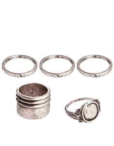 Image 1 ofASOS Ring Pack With Signet Ring and Band