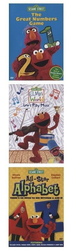 Sesame Street DVDs...including three great titles: The Great Numbers Game, All-Star Alphabet and Elmo's World, Let's Play Music. #sesamestreet #tv #dvds