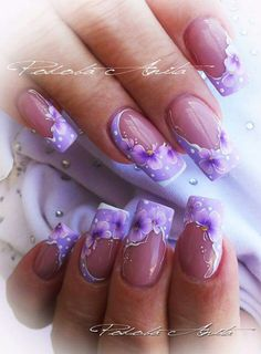 Pin de maria garces en uñas nail art designs, nails y purple Purple Nail Art, Purple Nail Designs, Beautiful Nail Designs, Cute Nail Designs, Fancy Nails, Cute Nails, Spring Nails, Summer Nails, One Stroke Nails