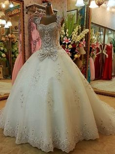 Straps Crystal Lace-Up Beaded Ball Gown Court Train Wedding Dress & unusual Wedding Dresses