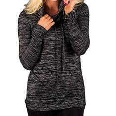 ouxiuli Women Cowl Neck Drawstring Long Sleeves Loose Plain Sweatshirt Top