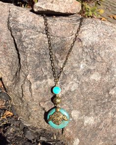 Tibetan Turquoise and Brass Pendant Necklace