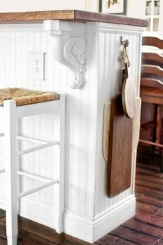 IKEA bookcases turned kitchen island details with beadboard, easy upgrade projects from home bloggers