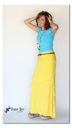 how to make a Dress to Maxi Skirt - knit refashion ~ Sugar Bee Crafts