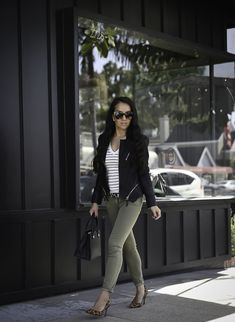 How to wear a faux leather jacket - fall outfit, olive jeans leopard pumps, street style, weekend outfit, petite fashion blog, stylish petite - click the photo for outfit details!