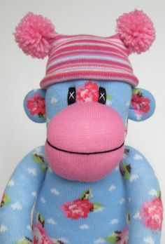 Shabby Chic Rose Sock Monkey made to order. via Etsy.