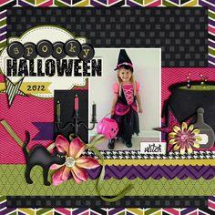"Cute ""Spooky Halloween"" Scrapbooking Layout...Kassie Garlock:  Kassie Scraps - Witches Brew by North Meets South Studios."