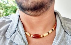 Men Necklace Tiger Eye Agate Calcite and Orange by LiliyaJewelry