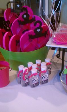 sandals were decorated by the girls with help of an adult, and each girl recieved her own mani/pedi kits (Target)