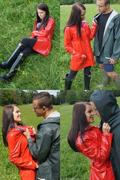 They don't only love rainwear and vinyl, the love little role plays as well. That's why Katja, dressed in black vinyl, black glossy Hunter wellies and a shi Vinyl Raincoat, Pvc Raincoat, Hunter Wellies, Hunter Boots, Gloves Fashion, Women's Fashion, Vinyl Clothing, Rain Wear, Rain Coats