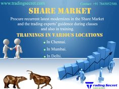 Want to learn the latest updated trading ideas to trade as best in the share market? Share Market Classes in Chennai is here who gives the frequent updates and supreme training about the Share Market. http://www.tradingsecret.com/share-market-training-chennai/ Contact: +91 7845052500. Email-ID: info@tradingsecret.com