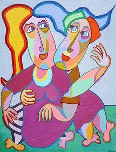 Schilderij Feelgood van Twan de Vos, twee geliefden in innige omhelzing