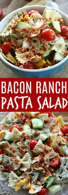 ** Our advice: make it with gluten free pasta ** This Bacon Ranch Pasta Salad is the perfect side dish for barbecues and summer get-togethers. It's fresh, yummy, and always a crowd pleaser! Bacon Ranch Pasta Salad, Pasta Salad Recipes, Bacon Pasta, Relish Recipes, Spinach Recipes, Bacon Recipes, Pasta Dishes, Food Dishes, Side Dishes