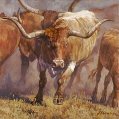 """Tex by Ragan Gennusa - Ragan Gennusa paints some of the best longhorns coming down the trail.  This month, """"Tex"""" is headed your way.  In a pasture filled with the sound of thundering hooves kicking up the dust, """"Tex"""" leads the herd.  This amazing longhorn almost leaps off the screen as it runs toward the viewer."""