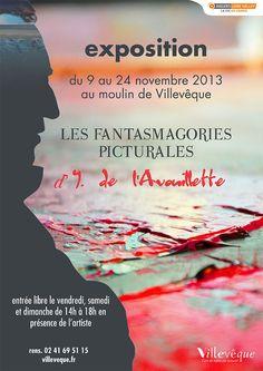exposition des oeuvres d'Yves de l'Avouillette au moulin de Villevêque - du 9 au 24 novembre 2013
