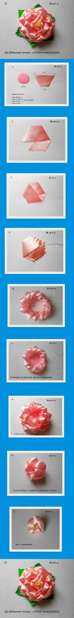 DIY Rose from Voile Ribbon DIY Projects