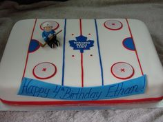 Cute cake idea- change to Redwings though 😊inspiration for client's hockey cake Hockey Birthday, Man Birthday, Birthday Cakes, Birthday Ideas, Birthday Parties, Hockey Cakes, Party Themes, Party Ideas, Men Gifts