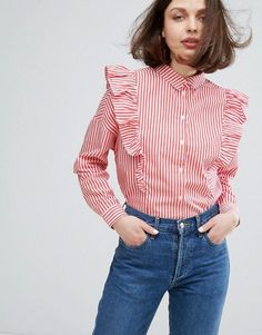 Monki ruffle shirt – click through for more striped clothes for spring… Hijab Fashion, Fashion Outfits, Womens Fashion, Fashion Tips, Club Fashion, 1950s Fashion, Emo Fashion, Blouse Styles, Blouse Designs