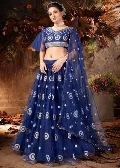 #navy #blue #mirror #embellished #net #lehenga #choli #designs # traditional #indian #outfits #gorgeous #wedding #look #ootd #new #arrival #womenswear #online #shopping Lehenga Choli, Navy Blue Lehenga, Lehenga Suit, Net Lehenga, Party Wear Lehenga, Indian Skirt, Indian Dresses, Indian Outfits