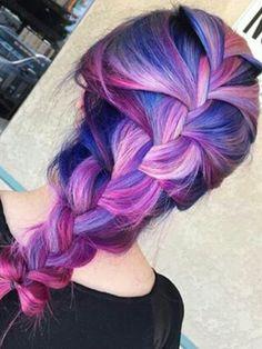 Purple braided dyed hair with highlights @ca_locks
