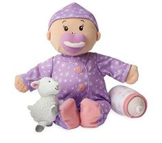 From Manhattan Toy's multiple award-winning Baby Stella collection of soft nurturing baby dolls and accessories * Features microencapsulation technology by Celessence - gently hug Baby Stella to release her soothing lavender scent * This cloth first baby doll is ultra-soft, has cute, embroidered toes and belly button, and loves to cuddle with snuggly lamb companion * (Placed within the Amazon Associates program) * 07:22 Mar 21 2017