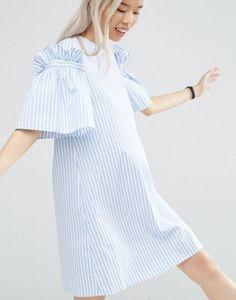 ASOS WHITE Stripe Frill Dress
