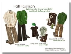 Sweet Exposure Photography: What to Wear for Fall Family Photos - love the green/brown/khaki - but maybe not for outdoor pics? Family Photos What To Wear, Fall Family Pictures, Fall Photos, Family Pics, Photos 2016, Nice Photos, Big Family, Christmas Pictures, Family Photo Colors