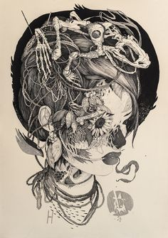 itscolossal:    Sprawling Tattoo-Inspired Ink Drawings by Benze