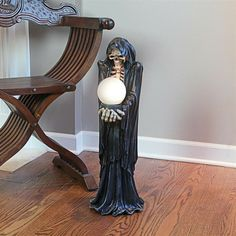 """Unique Grim Reaper Illuminated Floor Lamp 2 Feet Tall w/4"""" Diameter Glass Globe Don't Fear The Reaper, Grim Reaper, Medieval Gothic, Glass Globe, Household Items, Floor Lamp, Table Lamp, Bulb, Blue And White"""