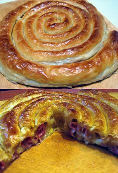 Caracola De Hojaldre Queso y Jamon. recetas - recipes- food