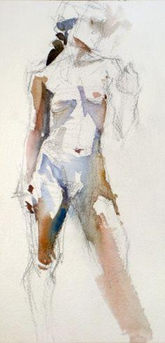 female nude, pencil & watercolor