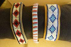 leather backed loom beaded bracelets