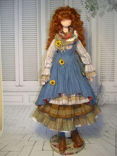 Купить Интерьерная кукла Алиса - синий, кукла, бохо, бохо стиль, рыжий, текстиль