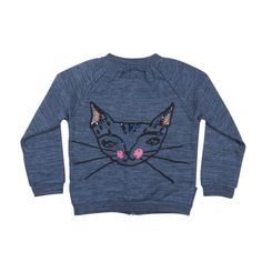 Anais Sweat Jacket with Embroidered Kitty Cat by Soft Gallery - Junior Edition  - 1