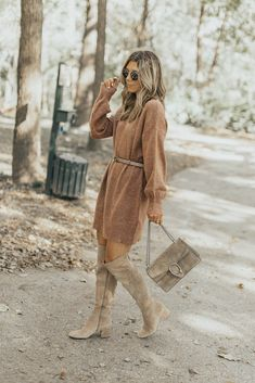 Sweater Dress with OTK Boots Outfit Inspo Stylish Winter Outfits, Cute Fall Outfits, Autumn Fashion Casual, Fall Winter Outfits, Casual Fall, Autumn Winter Fashion, Women's Casual, Trendy Outfits, Crazy Outfits