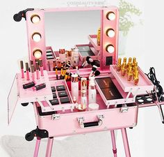 Details about CE Rolling Makeup Artist Train Box with Lights Station Trolley Studio Wheeled - Makeup Little Girl Toys, Toys For Girls, Makeup Box, Makeup Case, Makeup Ideas, Makeup Suitcase, Makeup Beauty Room, Makeup Storage Drawers, Makeup Boutique