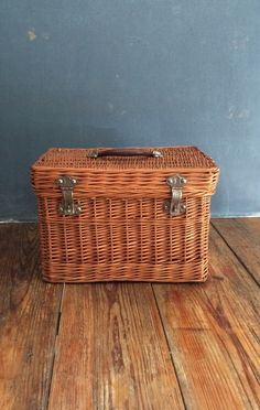 Vintage Wicker Train Case by VintageFunkHouser on Etsy