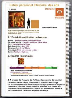 Ressources pour réaliser un cahier personnel d'histoire des arts : frises, logos, trames, formulaires de base pour l'élève, fiches de préparation, grilles d'analyse d'oeuvres