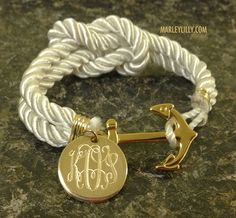 Monogrammed White Anchor Rope Bracelet-- marleylilly is love
