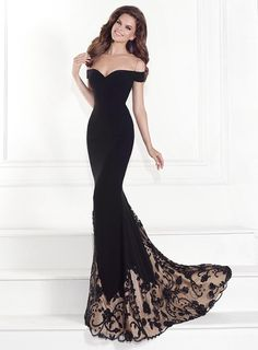 ihomecoming.com SUPPLIES Fantastic Trumpet Floor-Length Off-The-Shoulder Black Lace Evening Dress  Sexy