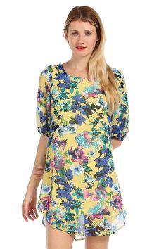 FLORAL PRINT CIRCLE HEM SHIFT DRESS- Yellow