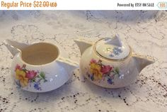 25% OFF SALE Vintage Ben Franklin Dinnerware Creamer and Sugar Bowl Pink Yellow Blue Flowers