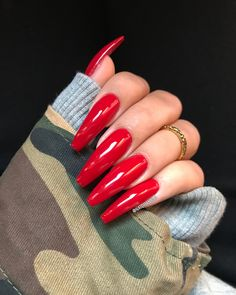 10 red coffin nails 2018 in 2019 Coffin Nails 2018, Coffin Nails Long, Red Acrylic Nails, Gold Nails, Pastel Nails, Bling Nails, Cute Nails, Pretty Nails, Shellac Gel
