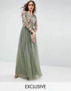 9aab9e0389a57 Needle and Thread - Vestito lungo ricamato con maniche lunghe