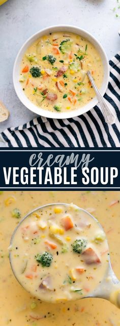 A delicious and easy to make creamy vegetable soup packed with veggies and healthy ingredients via chelseasmessyapron com stovetop easy creamy vegetable soup quick simple cheese broccoli corn recipe kidfriendly dinner meal crme de lgumes d hiver Creamy Vegetable Soups, Vegetable Soup Healthy, Vegetable Soup Recipes, Easy Soup Recipes, Healthy Vegetables, Healthy Recipes, Vegetarian Recipes, Veggies, Dinner Recipes