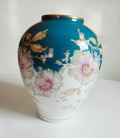 Vintage Vista Alegre Large Teal Floral Vase by BlueHeronBungalow, $64.99