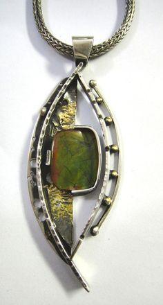 Ammolite Necklace, Robyn Cornelius, Little Rock Jewellery Studio, Sterling Silver, Ammolite, 24K Gold